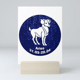 Aries Zodiac Sign Pattern Shape Mini Art Print