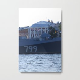 A cannon on the nose of the Navy warship Admiral Makarov with the identification number 799. Metal Print