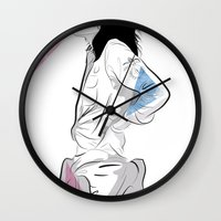 melissa smith Wall Clocks featuring Patti Smith by Nicky Phillips
