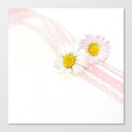 Spring Flowers White and Pink Canvas Print