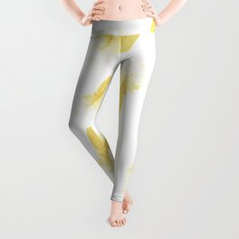 gold feather pattern Leggings