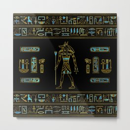 Anubis Egyptian  Gold and blue stained glass Metal Print