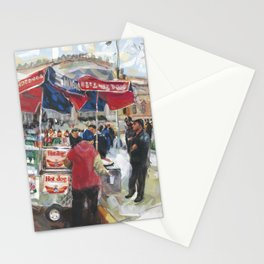 Hot dogs and soda sell well on the street outside the Metropolitan Museum, New York Stationery Cards