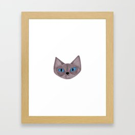 Grey Cat Head with Blue Eyes Framed Art Print