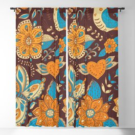 Floral Khokhloma pattern Blackout Curtain