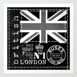 Great Britain London Black And White Art Art Print
