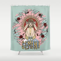 gemini Shower Curtains featuring Gemini by Iria Prol