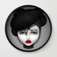 misfits Wall Clocks featuring Misfit - McQueen by Raymond Sepulveda