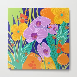 Orchid Fantasy Illustration, Tropical Colourful Orchids Metal Print