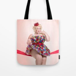 """Put a Bow On It"" - The Playful Pinup -  Christmas Bows Curvy Pin-up by Maxwell H. Johnson Tote Bag"