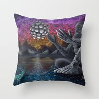 atlas Throw Pillows featuring Atlas by Drake Arnold Art