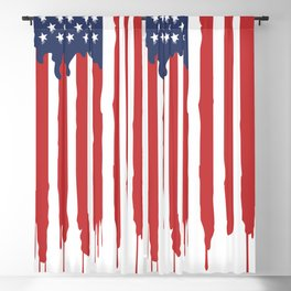 Bleeding American Flag of a US Patriot Blackout Curtain