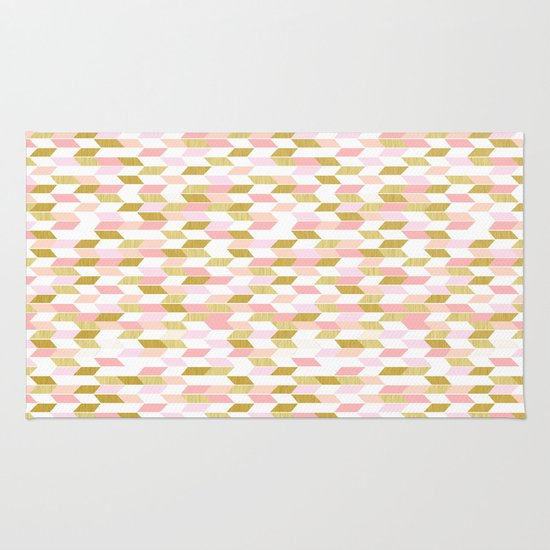 Pink And Gold Arrow Pattern Rug By The White Island