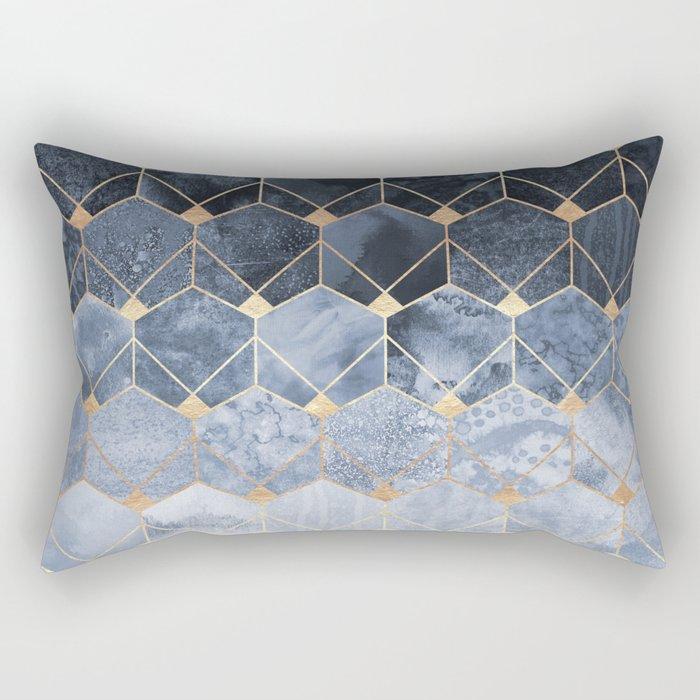 Blue Hexagons And Diamonds Rectangular Pillow