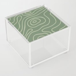 Topographic Map / Grayish Green Acrylic Box