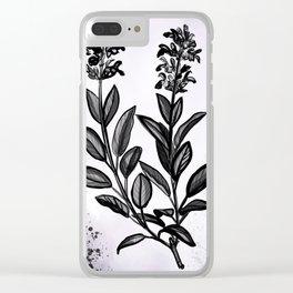 Sage Botanical Illustration Clear iPhone Case