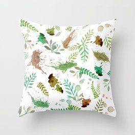 Green Leaves, Paint Splatter, Pattern Throw Pillow