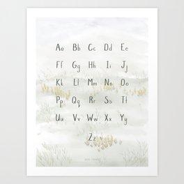 A Quiet Meadow Printed Alphabet Art Print