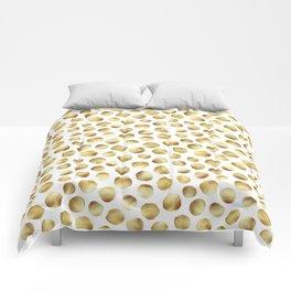 Large Gold Watercolor Polka Dot Pattern Comforters