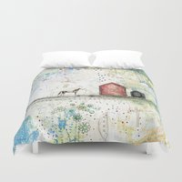 pony Duvet Covers featuring Pony Up by Sarah Ogren