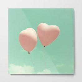 Close Love, Pink heart balloons on soft blue sky Metal Print