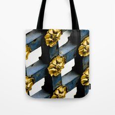 Gray Blue French Architecture with Parisian Gold Flowers Tote Bag