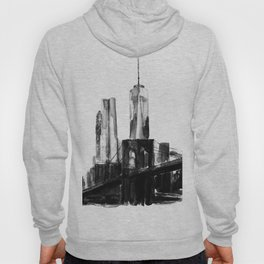 Abstract paintings, city at dusk, watercolor, black white Hoody
