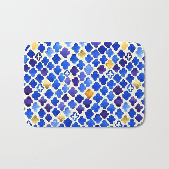 Rustic Watercolor Moroccan in Royal Blue & Gold Bath Mat