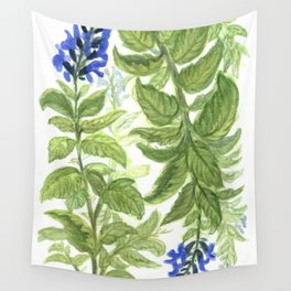 Blue Wildflower Watercolor Wall Tapestry