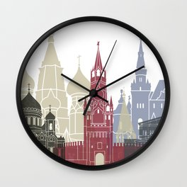 Moscow skyline poster Wall Clock