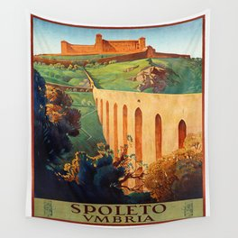 Vintage Spoleto Italy Travel Poster Wall Tapestry