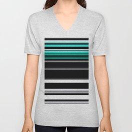 Teal black and white stripes Unisex V-Neck