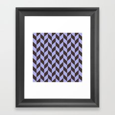 Charcoal black and pastel blue chevron pattern Framed Art Print
