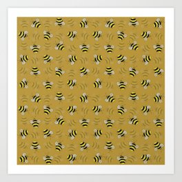 Bees and honey colour Art Print