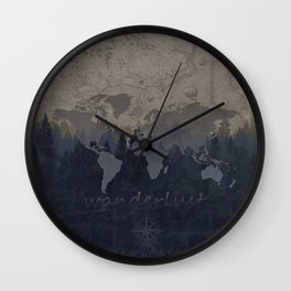 world map wanderlust forest grey Wall Clock