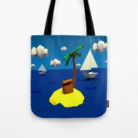low poly Tote Bags featuring Low-Poly Treasure Island by Jorge Antunes