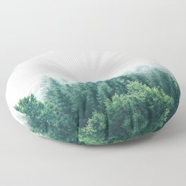 Cold Nordic Forest Sky Floor Pillow