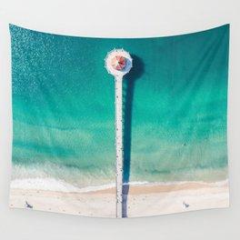 Aerial of Manhattan Beach pier Wall Tapestry