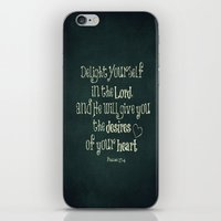 bible verse iPhone & iPod Skins featuring Delight in the Lord Bible Verse with Chalkboard Background by Quote Life Shop