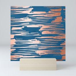 Tiger Paint Stripes - Sweet Peach Shimmer on Saltwater Taffy Teal Mini Art Print