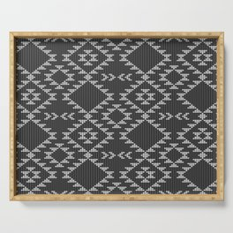 Southwestern textured navajo pattern in black & white Serving Tray