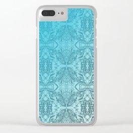 Blue Gradient Floral Doodle Pattern Clear iPhone Case
