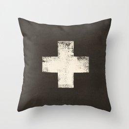 Ski Patrol Sign Cross X Vintage Throw Pillow