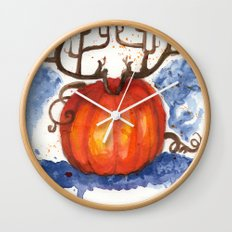 Deer Pumpkin Wall Clock