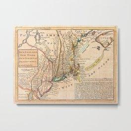 Vintage Map of New England (1729) Metal Print