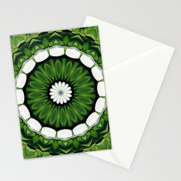 Tropical Green and White Floral Mandala Stationery Cards