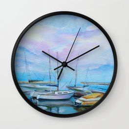 Morning boat pier Wall Clock