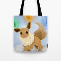 eevee Tote Bags featuring Eevee in the Clouds by Jessika