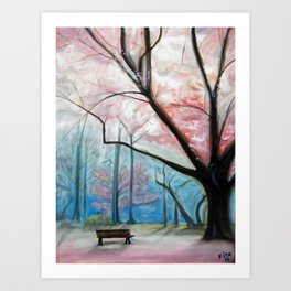 Trees pink and blue Art Print