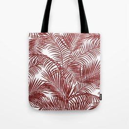 Tropical marsala red faux glitter palm tree pattern Tote Bag